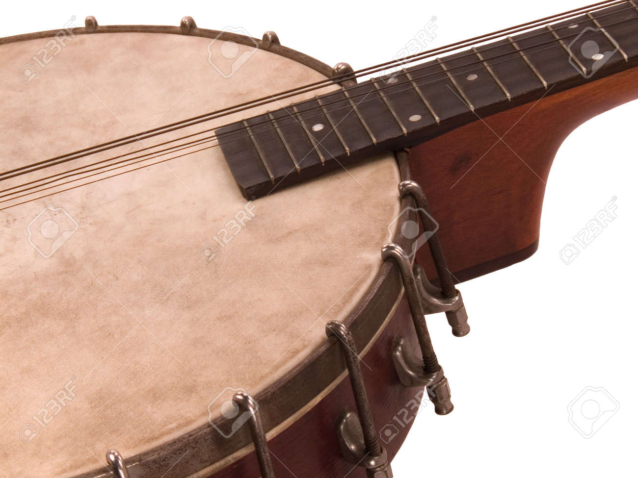 An antique banjolin: Part banjo, part mandolin, partly strung