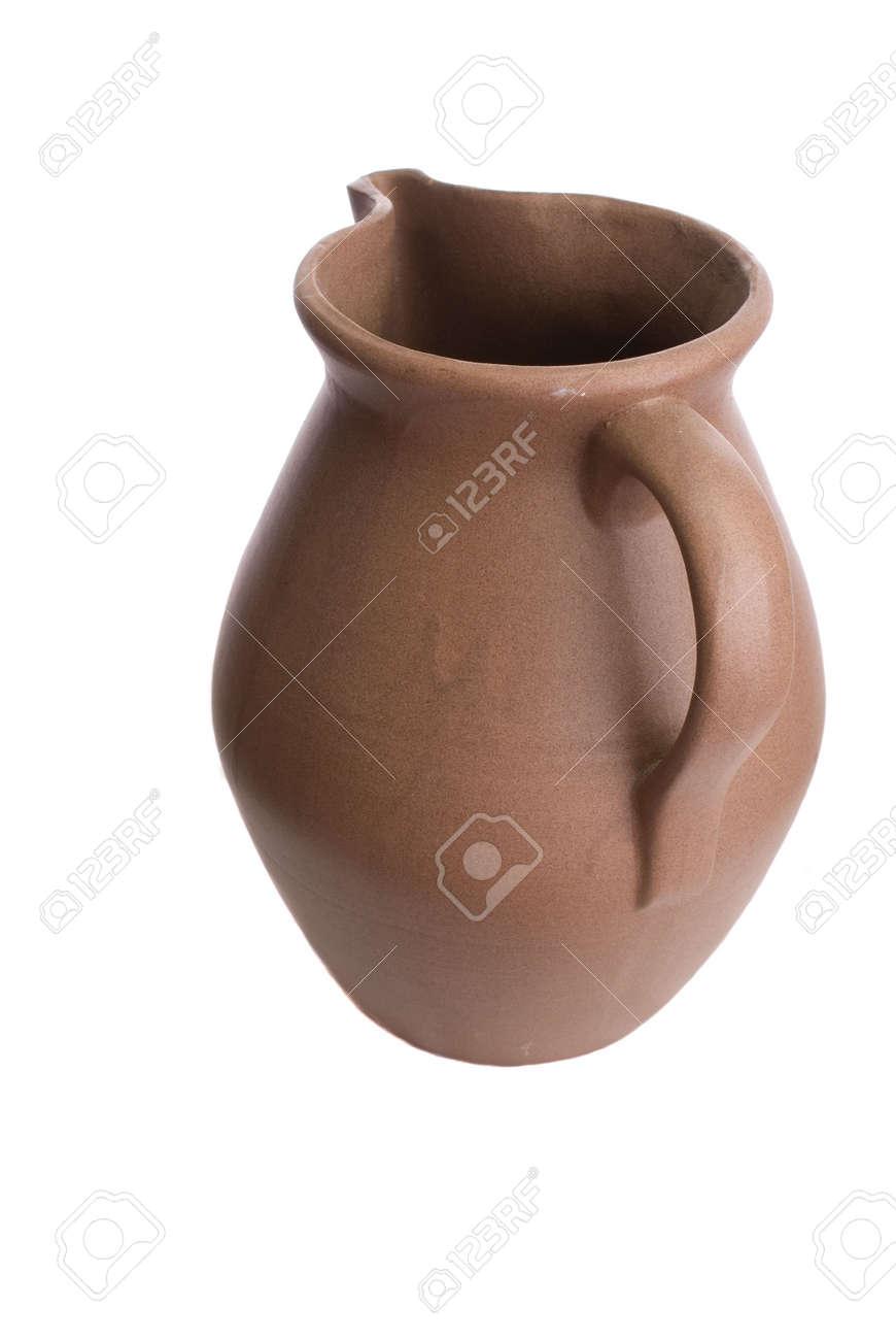 Handmade clay ceramic water pitcher or jug