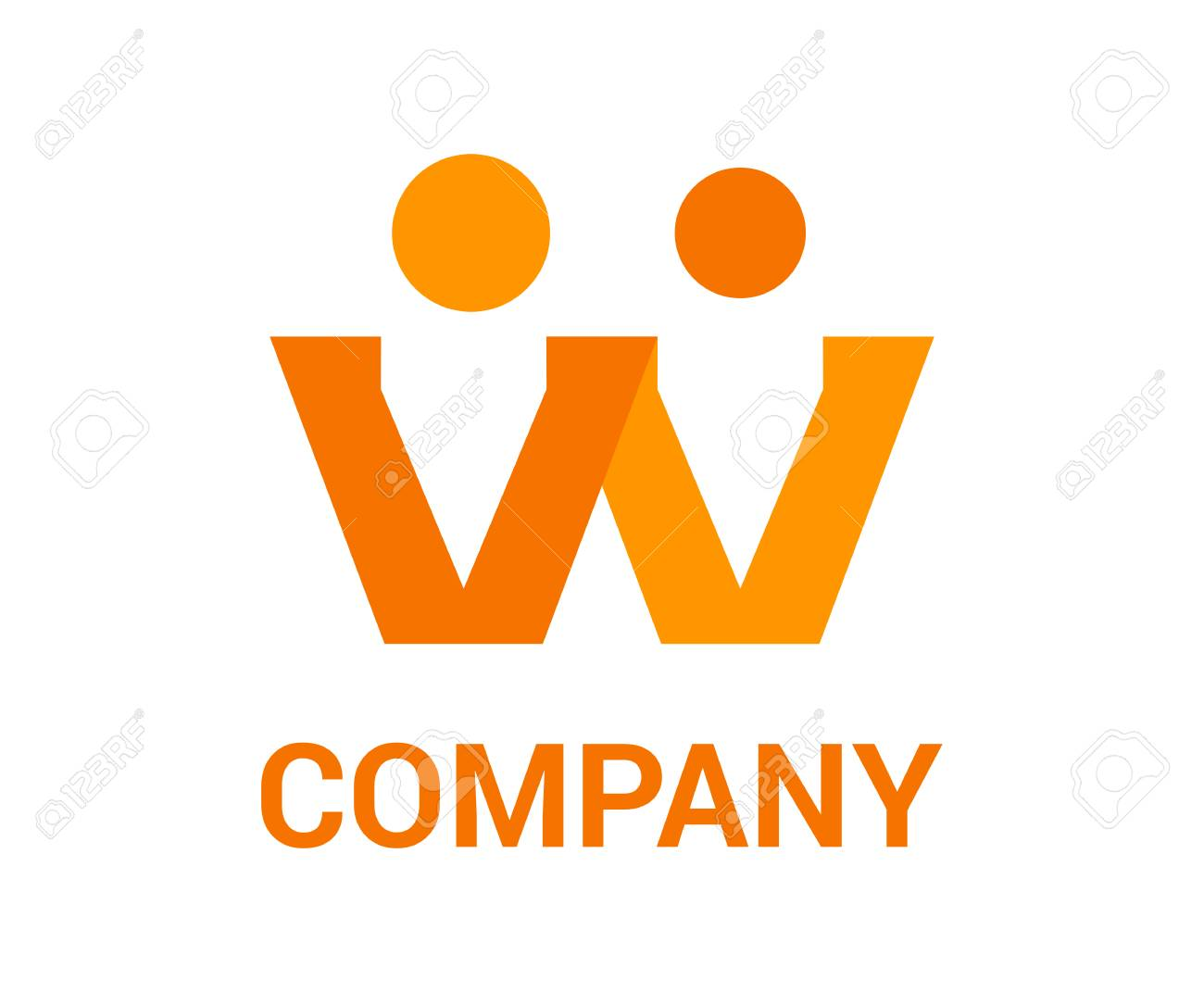 Letter W Alphabet Shape From Two Person Mix Logo Design Concept