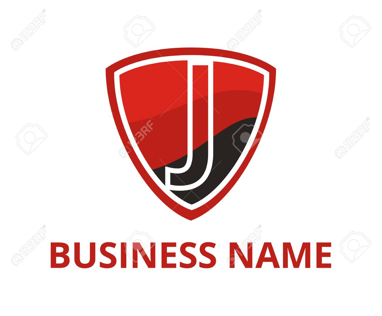red and black color simple triangle shield logo graphic design with modern clean style for protection or security company with initial type letter j on it - 106828838