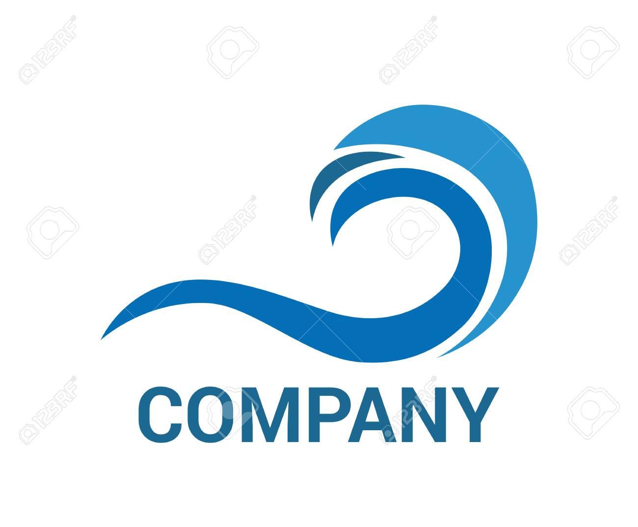 blue sea or ocean wave vector logo design idea template illustration concept stock vector 106829282