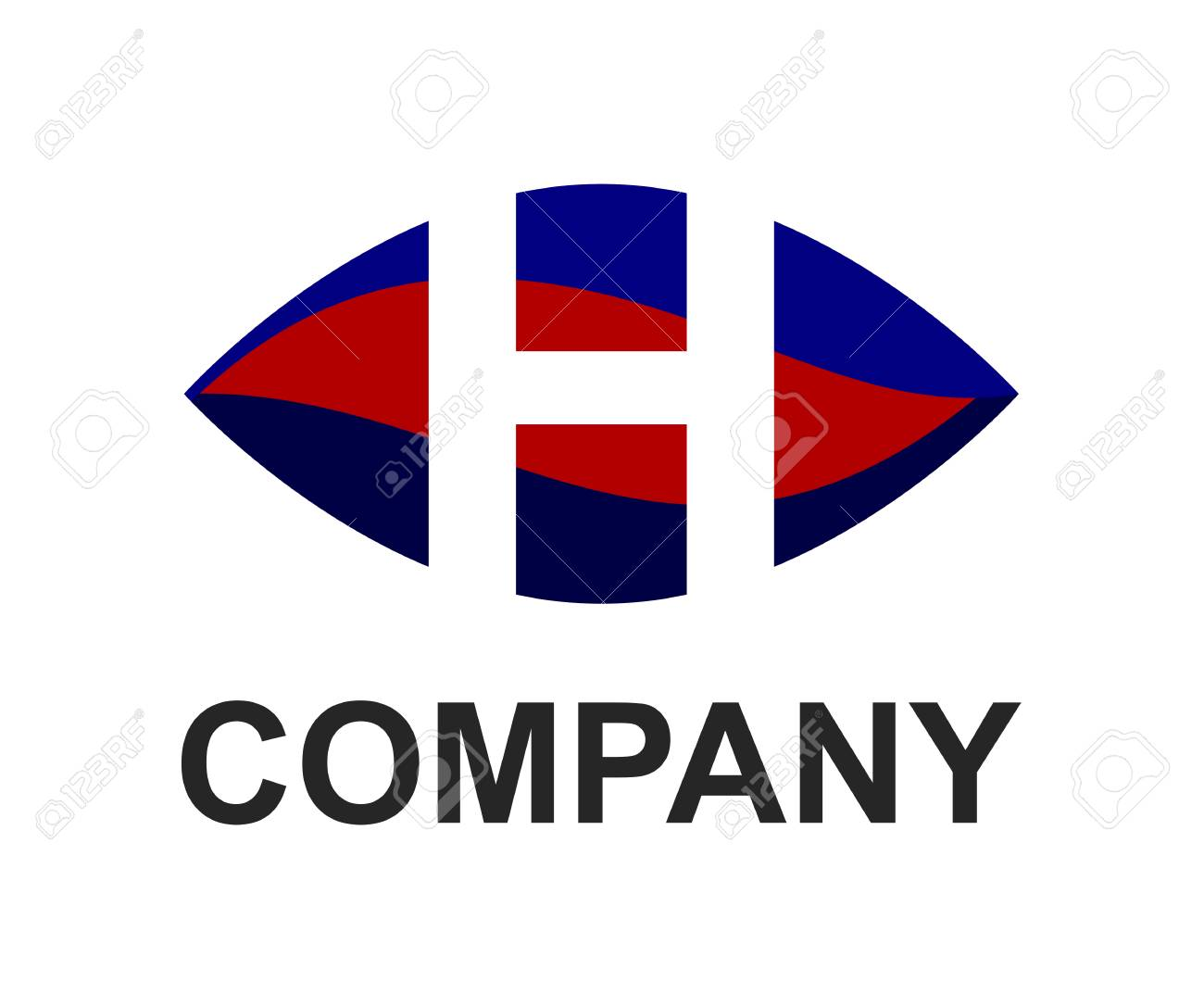 Blue And Red Color Logo Symbol Alphabet In Oval Like Eye Type