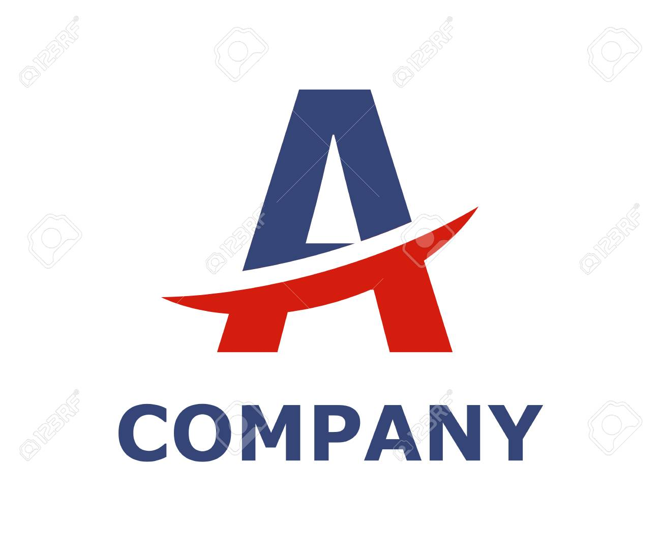 Blue And Red Color Logo Symbol Slice Type Letter A By Blade Initial