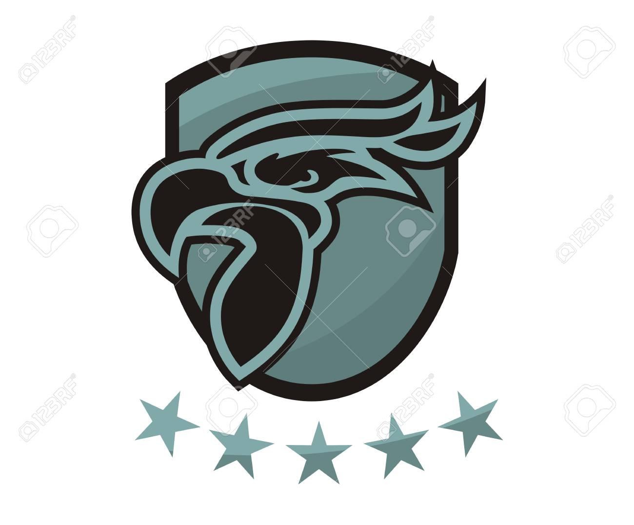 Grey Color Eagle Head Line Art Silhouette Shape Like Tattoo Logo