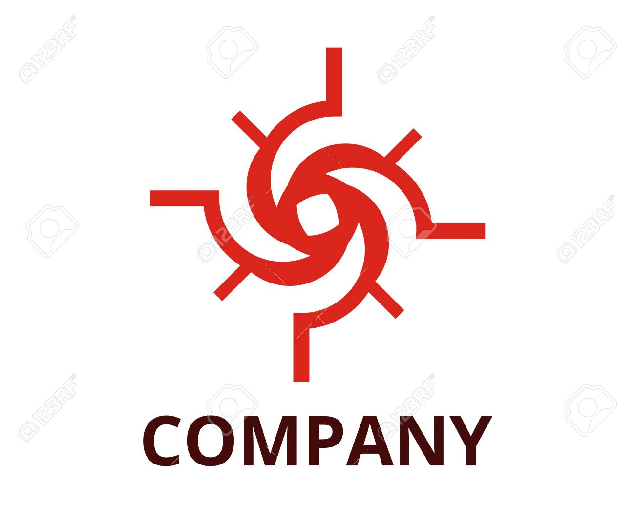 Red Color Cyclone Shape From Line Like Black Hole Logo Design