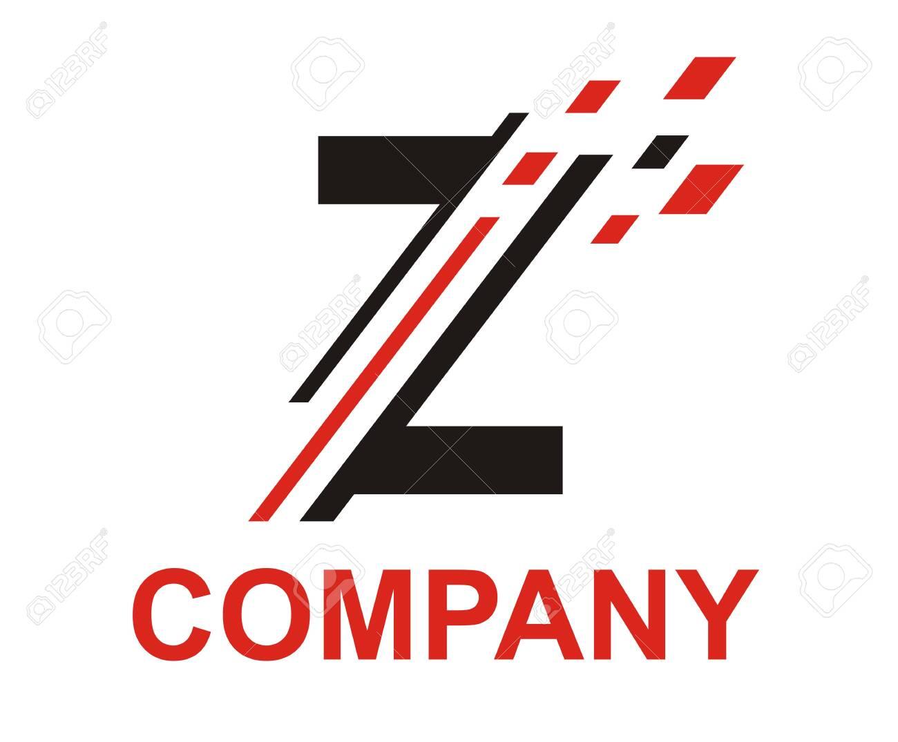 Black And Red Color Logo Symbol Digital Slice Type Letter Z Like