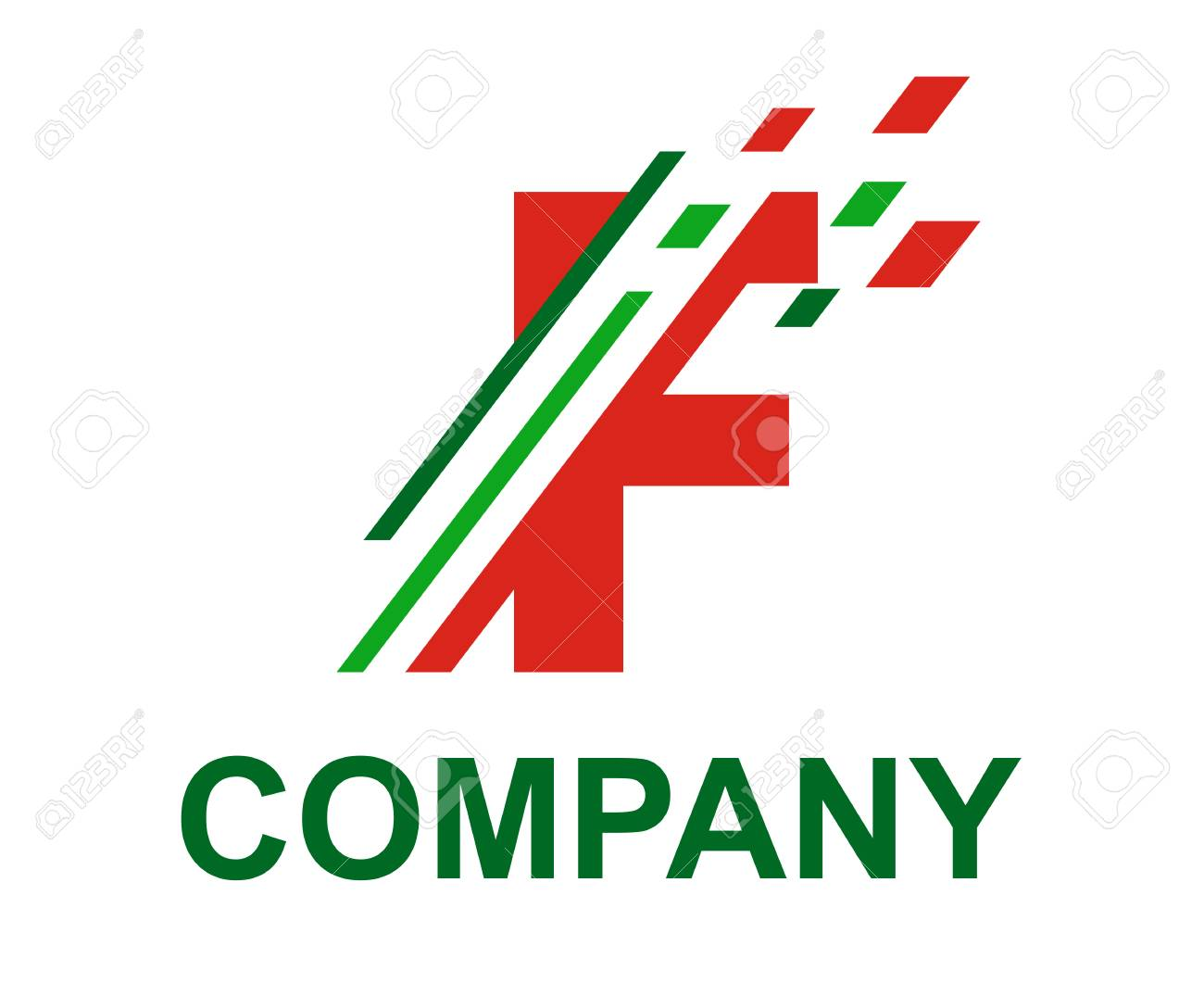 Green And Red Color Logo Symbol Digital Slice Type Letter F Like