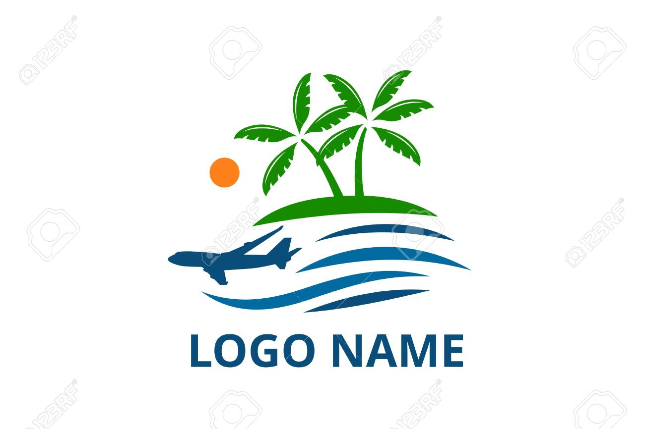 Plane Logo Design Leaving Beach In Tropical Island Concept Icon Royalty Free Cliparts Vectors And Stock Illustration Image 139481822