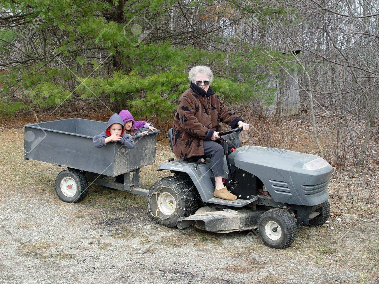 Grandmother transporting her grandchildren by tractor Stock Photo - 403053