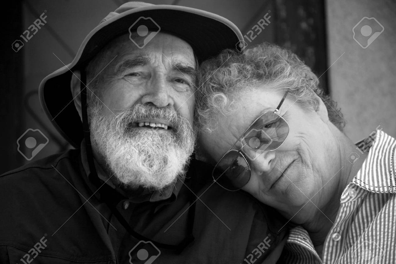 Porch with senior couple in black and white Stock Photo - 526848