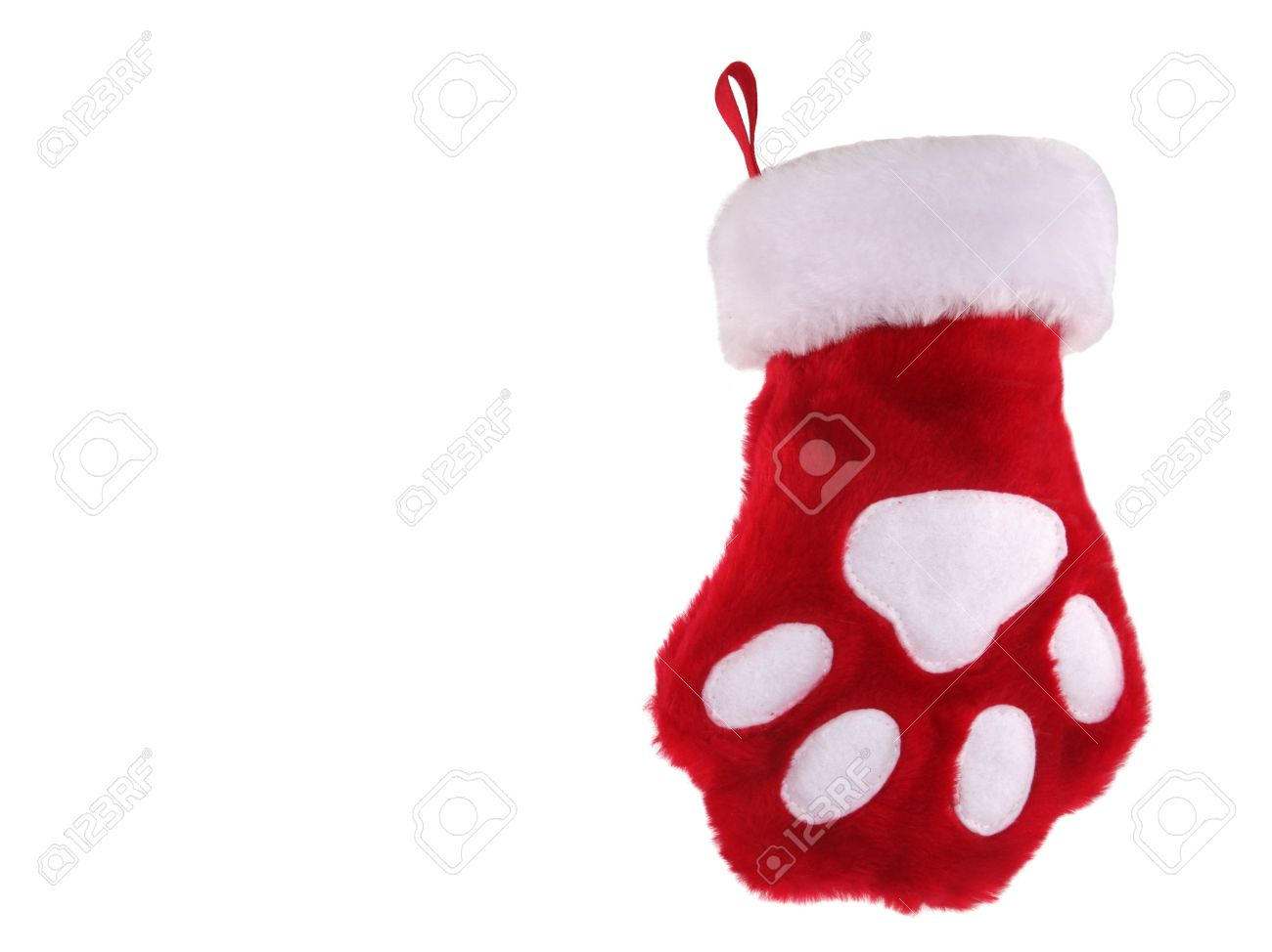 Red And White Christmas Stocking With Paw Print Isolated On White