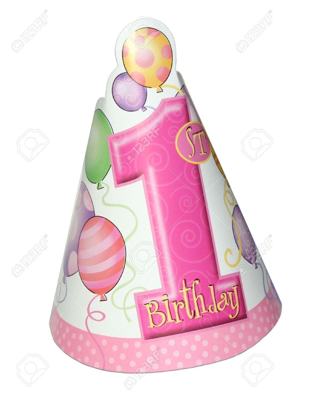 1st Birthday Party Hat For A Girl Isolated On White Background Stock Photo