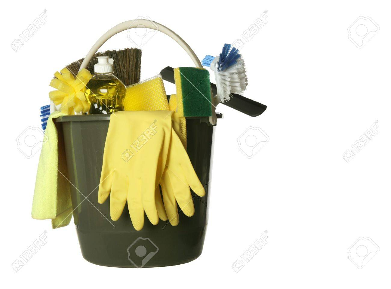 Plastic bucket with cleaning supplies isolated on white background Stock Photo - 4262059