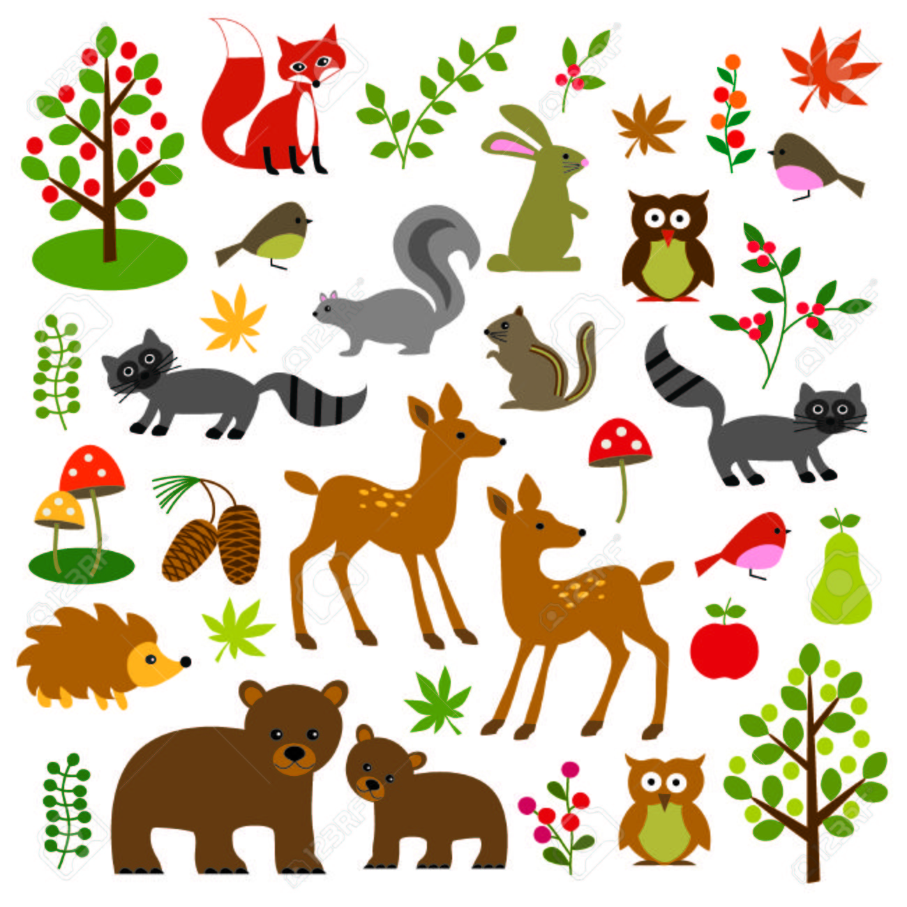 woodland wildlife clipart royalty free cliparts vectors and stock rh 123rf com Free Nature Clip Art Baby Animal Clip Art Free