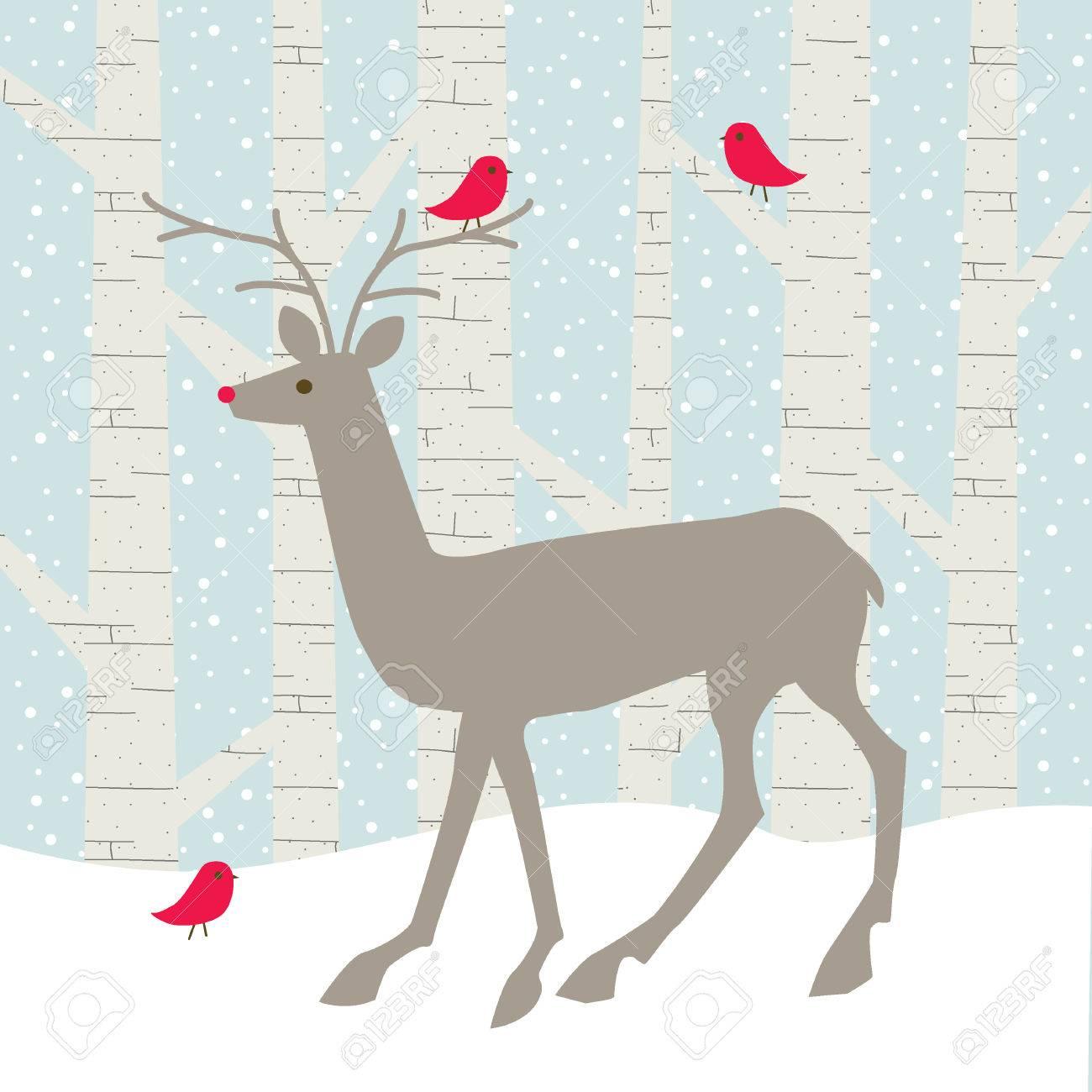 deer and birds - 36005550
