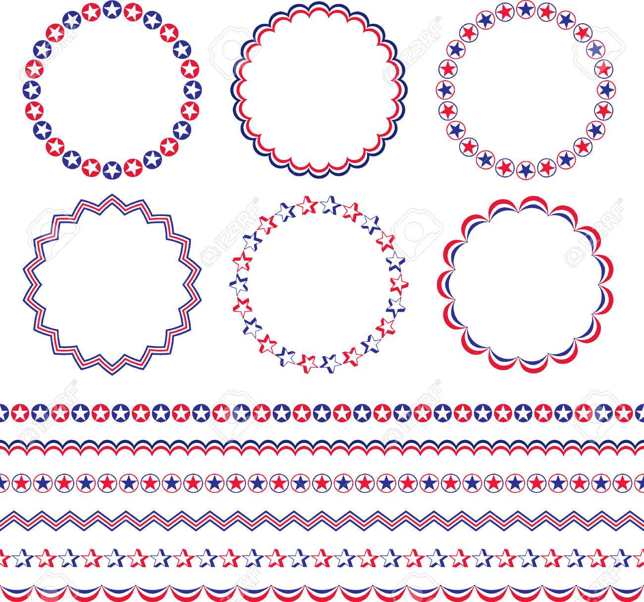 Red White Blue Patriotic Frames And Borders Royalty Free Cliparts ...
