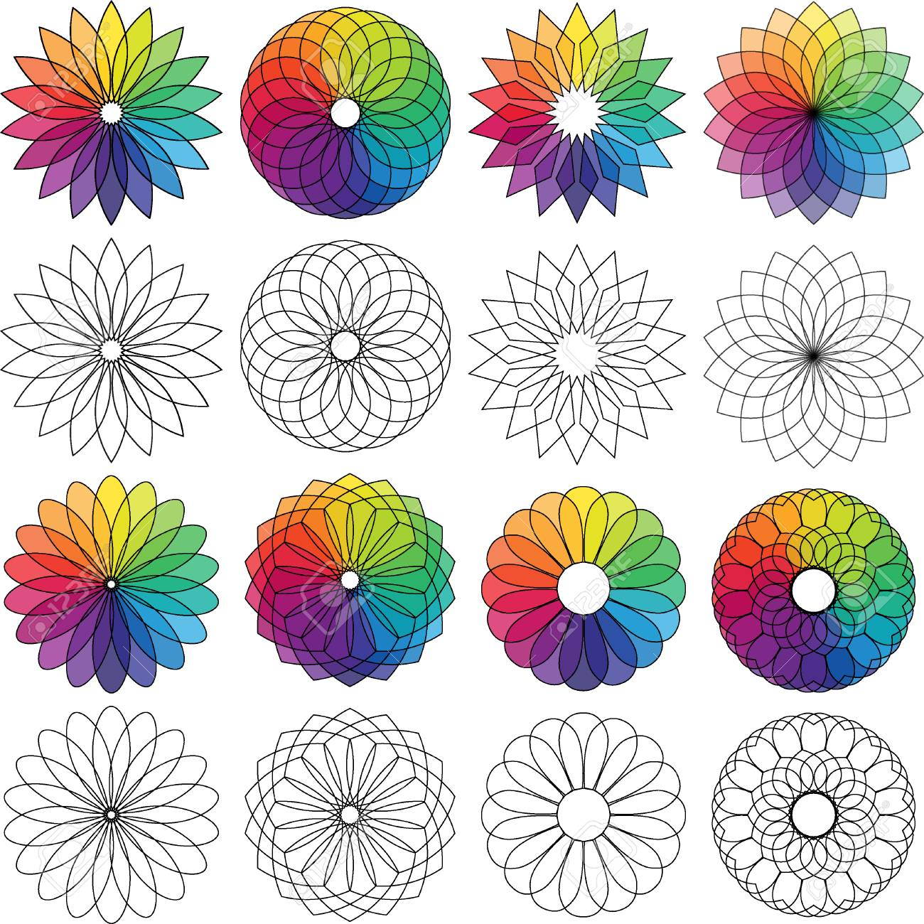 Color Wheel Flowers Royalty Free Cliparts Vectors And Stock