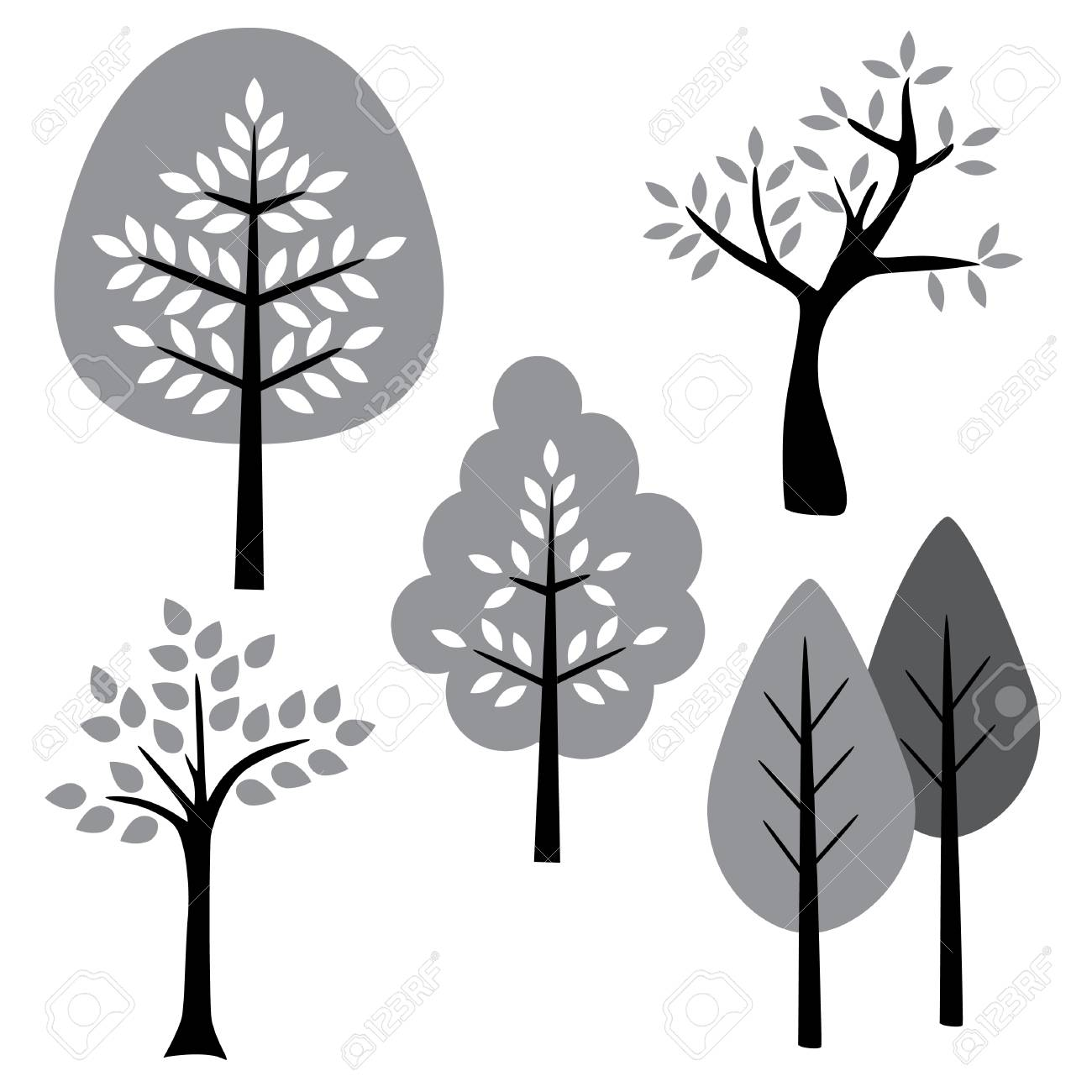 Simple Black White And Gray Vector Trees Clipart Royalty Free