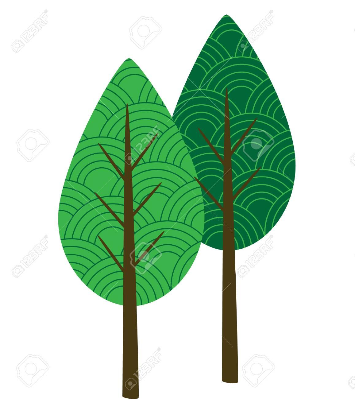 2 つの貝柱パターン ベクトルの木クリップアートのイラスト素材ベクタ