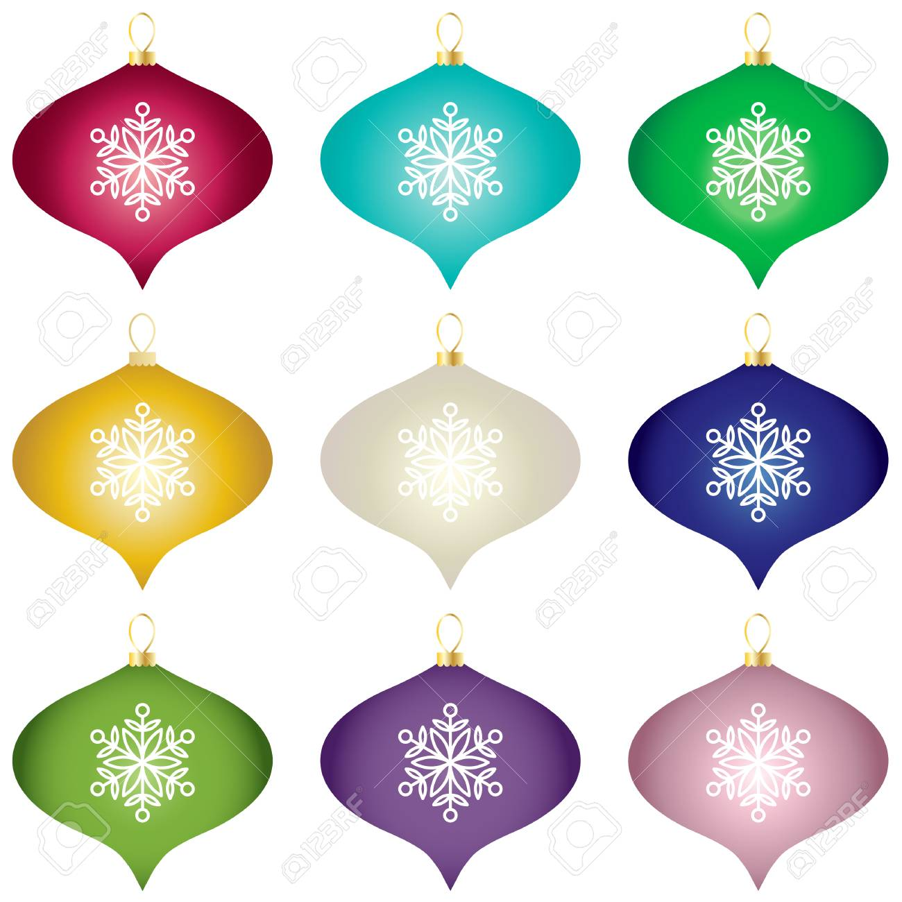 Gradient Christmas Tree Ornaments Vector Clipart Royalty Free