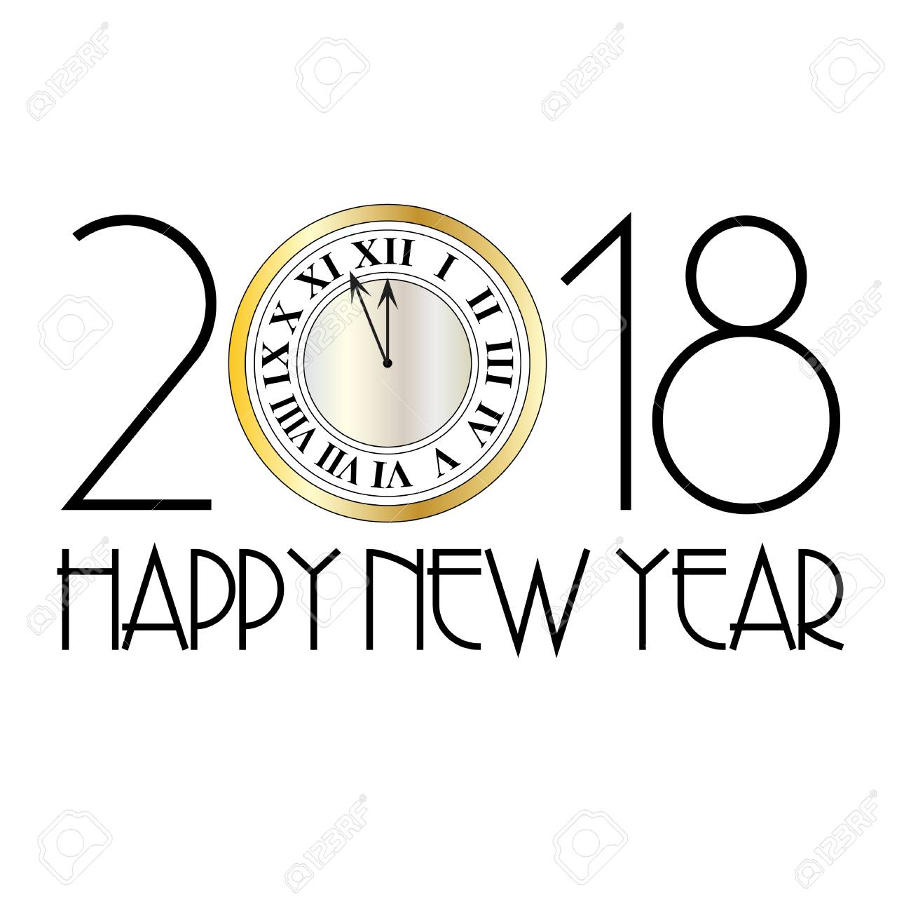 happy new year metallic clock art decoration stock vector 91055083