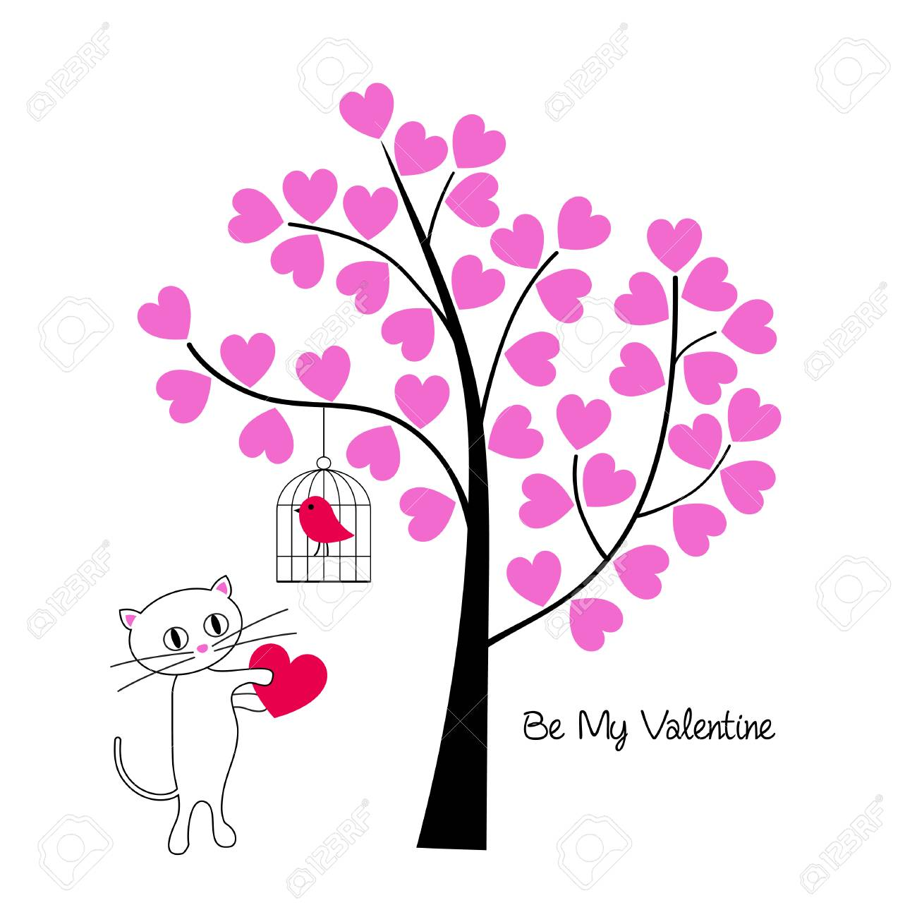 Valentines day cat and bird with tree vector graphic. - 94050250
