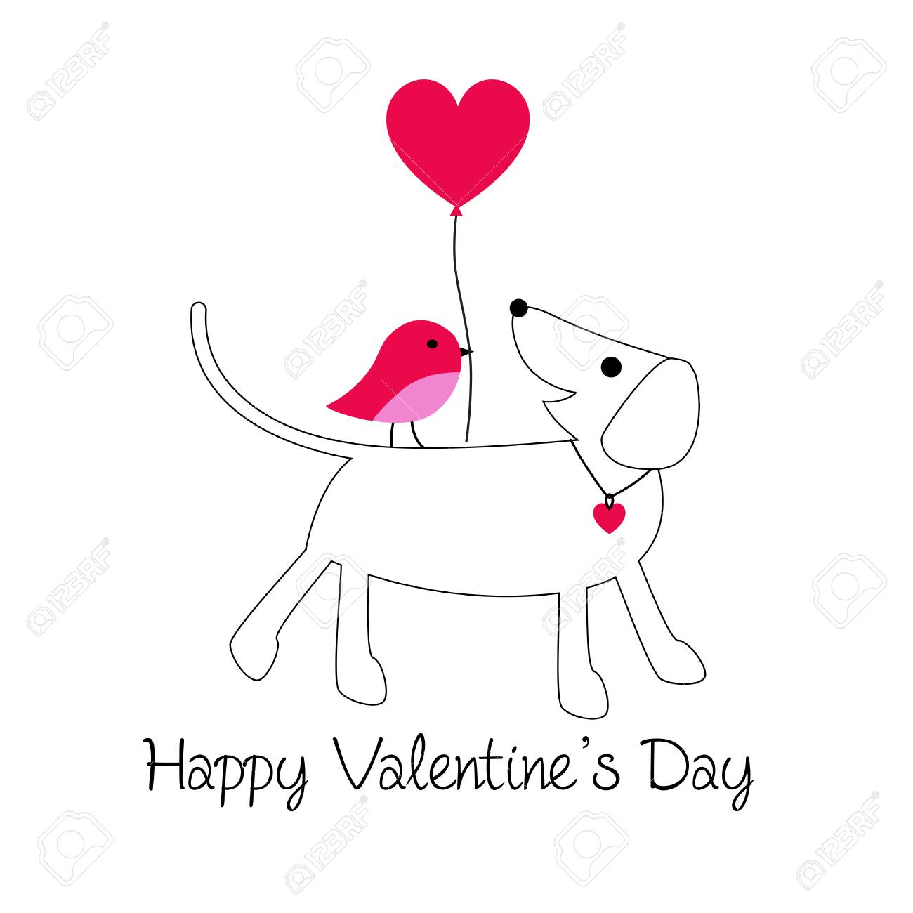 cute dog and bird valentine vector graphic with balloon - 94182668