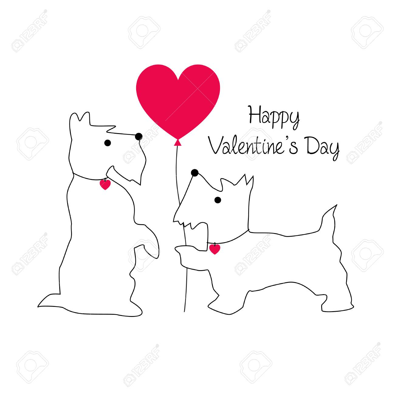 cute Scottie dog valentine vector graphic with balloon - 94182669