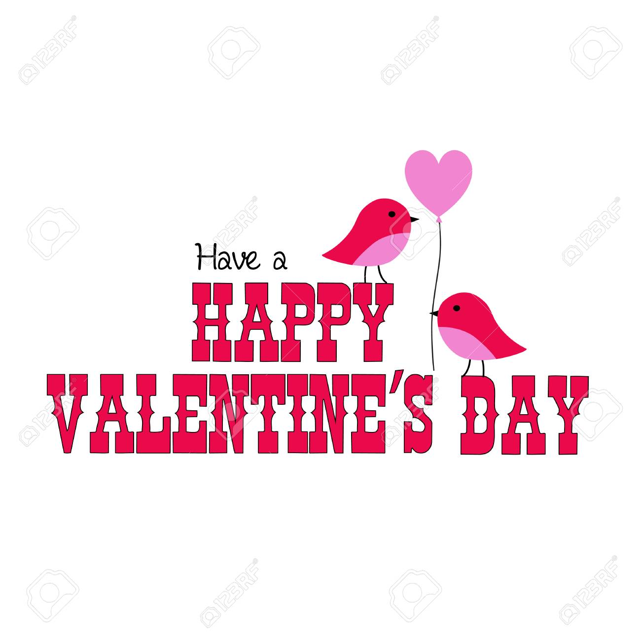 valentines day graphic with cute birds and balloon - 94075479
