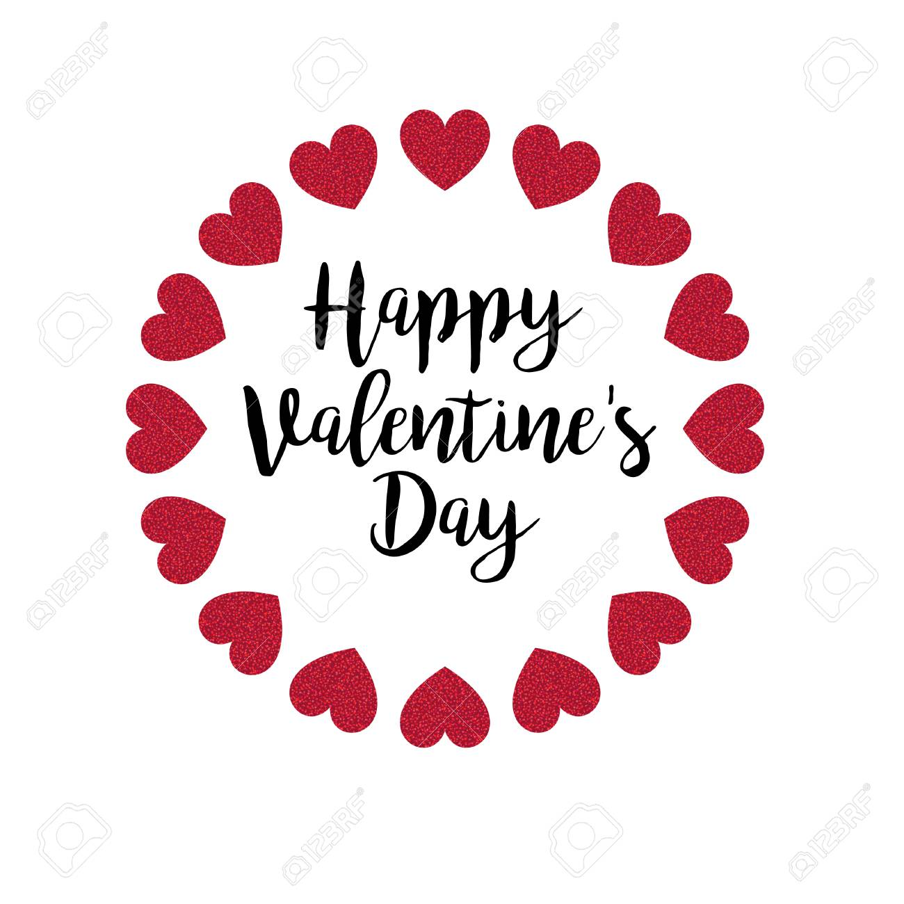 Happy Valentines Day With Glitter Hearts Vector Graphic Royalty Free Cliparts Vectors And Stock Illustration Image 94266002