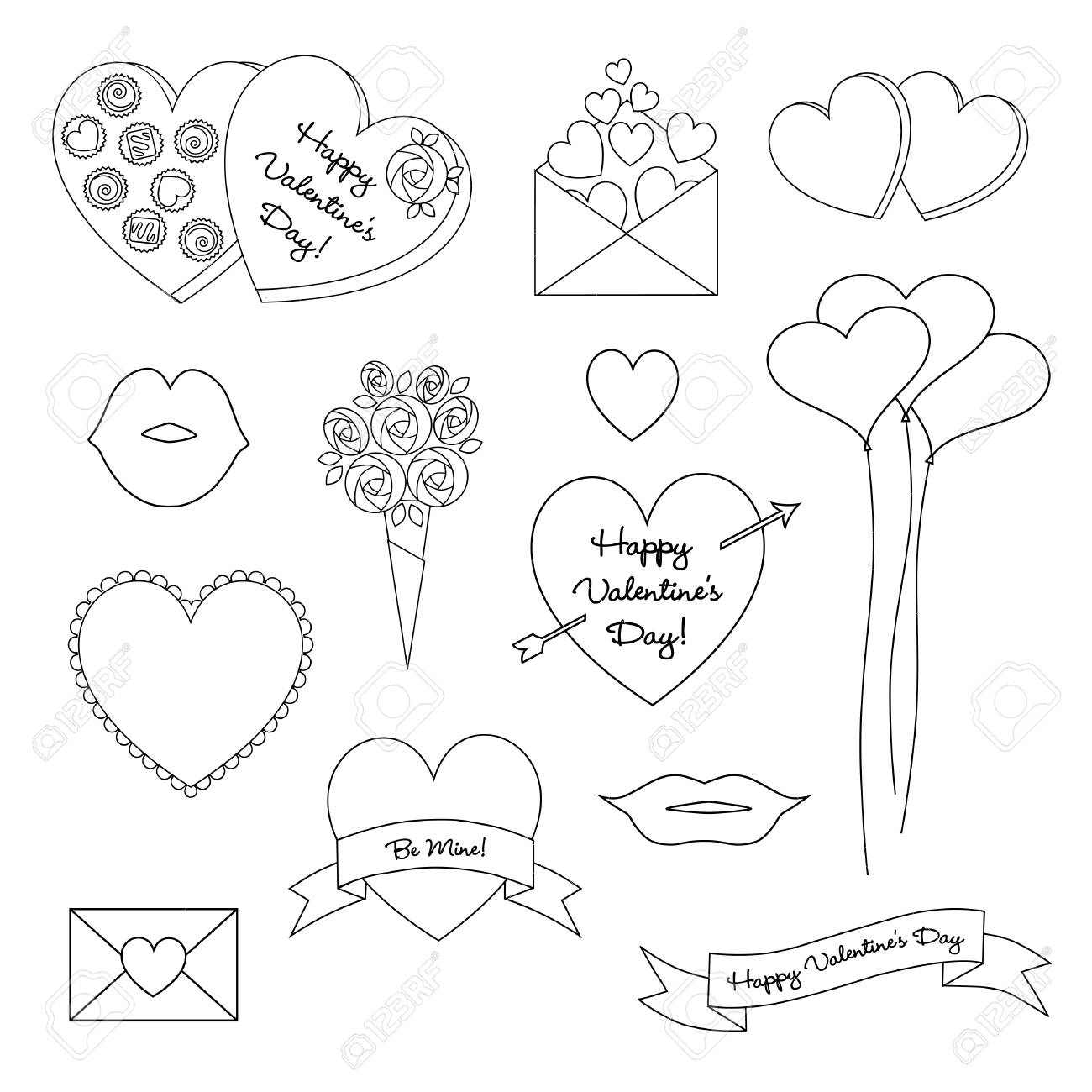 black outline valentines day vector clipart - 94312811