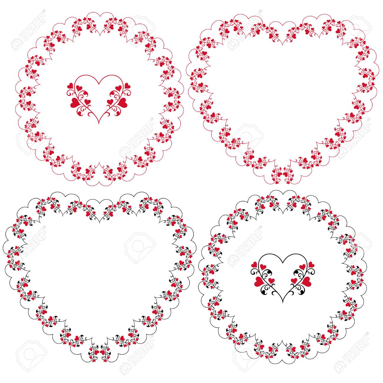 heart and vine frames vector clipart - 94543699