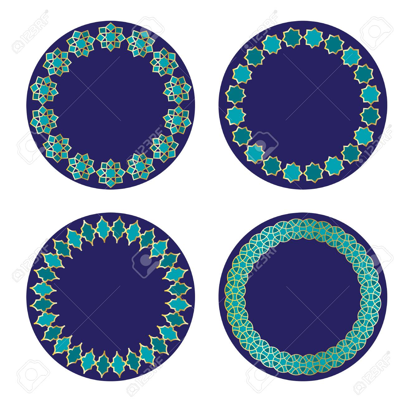 Blue and gold Moroccan circle frames. - 94540442