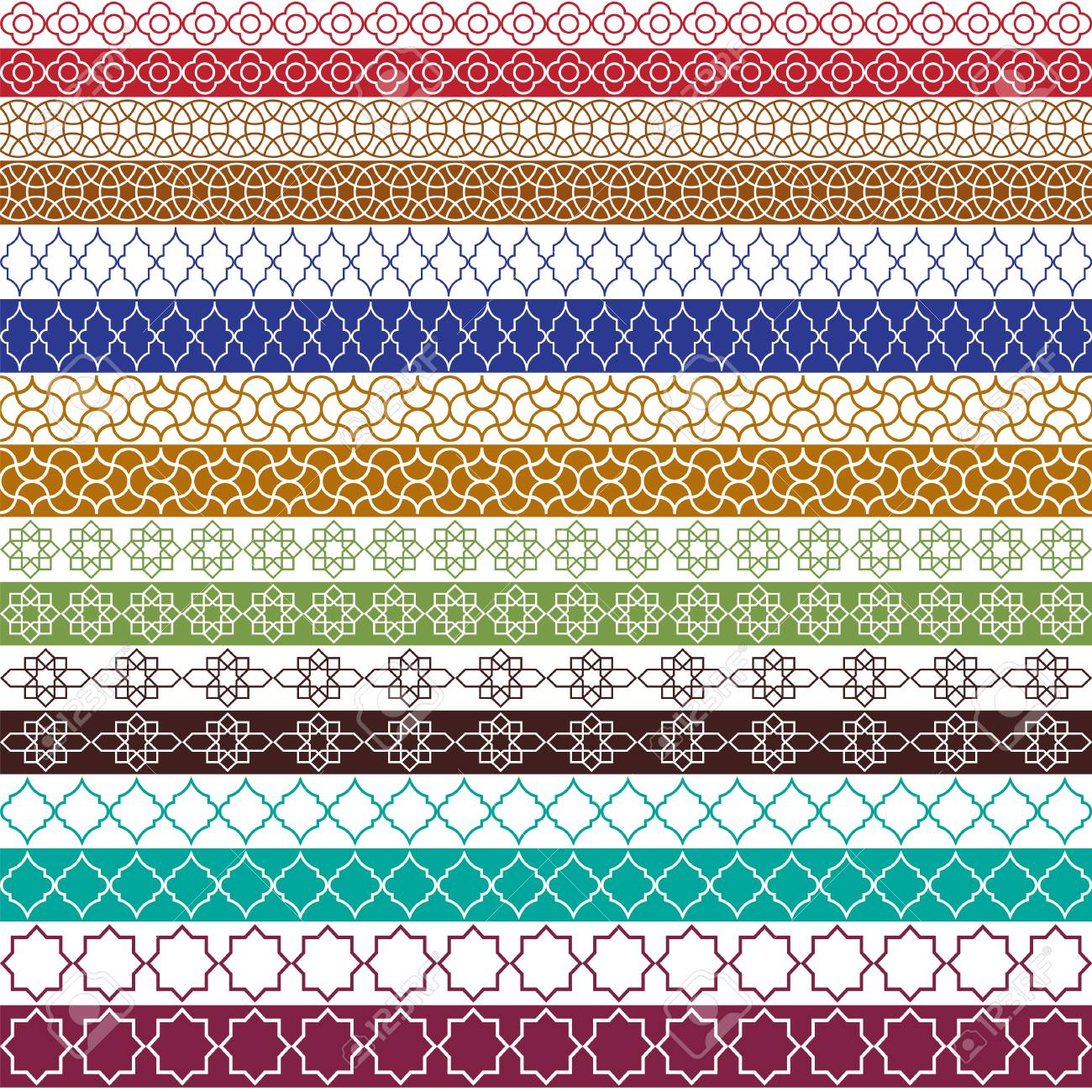 colorful Moroccan vector border patterns - 94642689