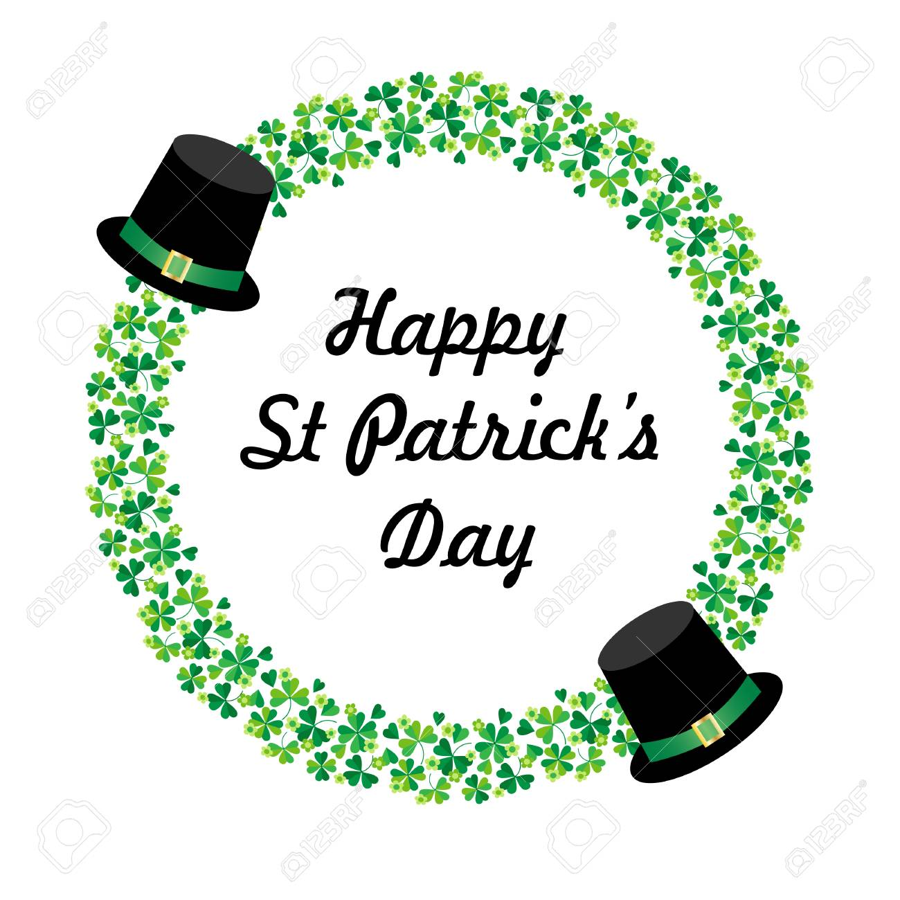 Happy Saint Patricks day graphic with hats and circle shamrock frame - 95992603