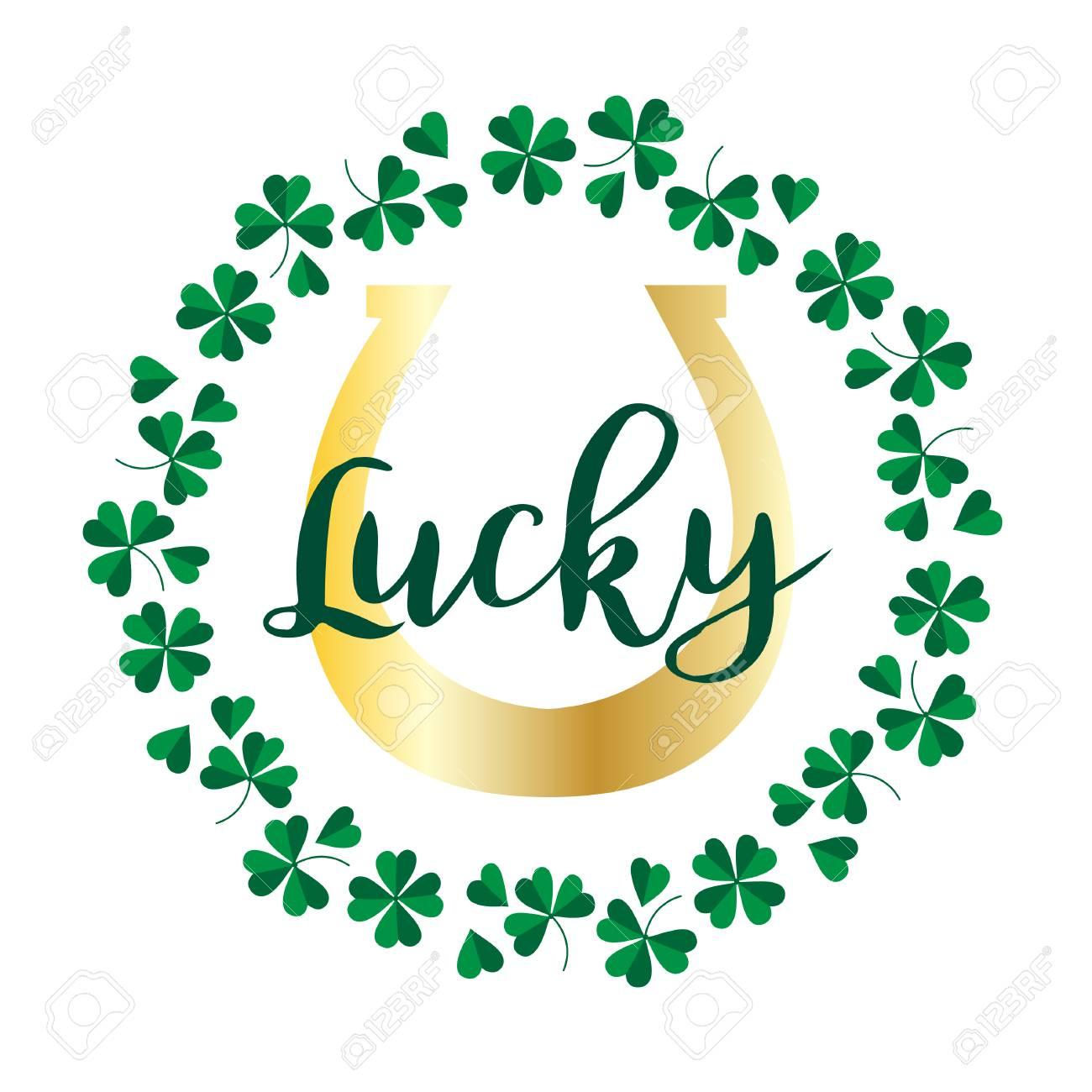 lucky gold horseshoe in shamrock circle frame - 95926452