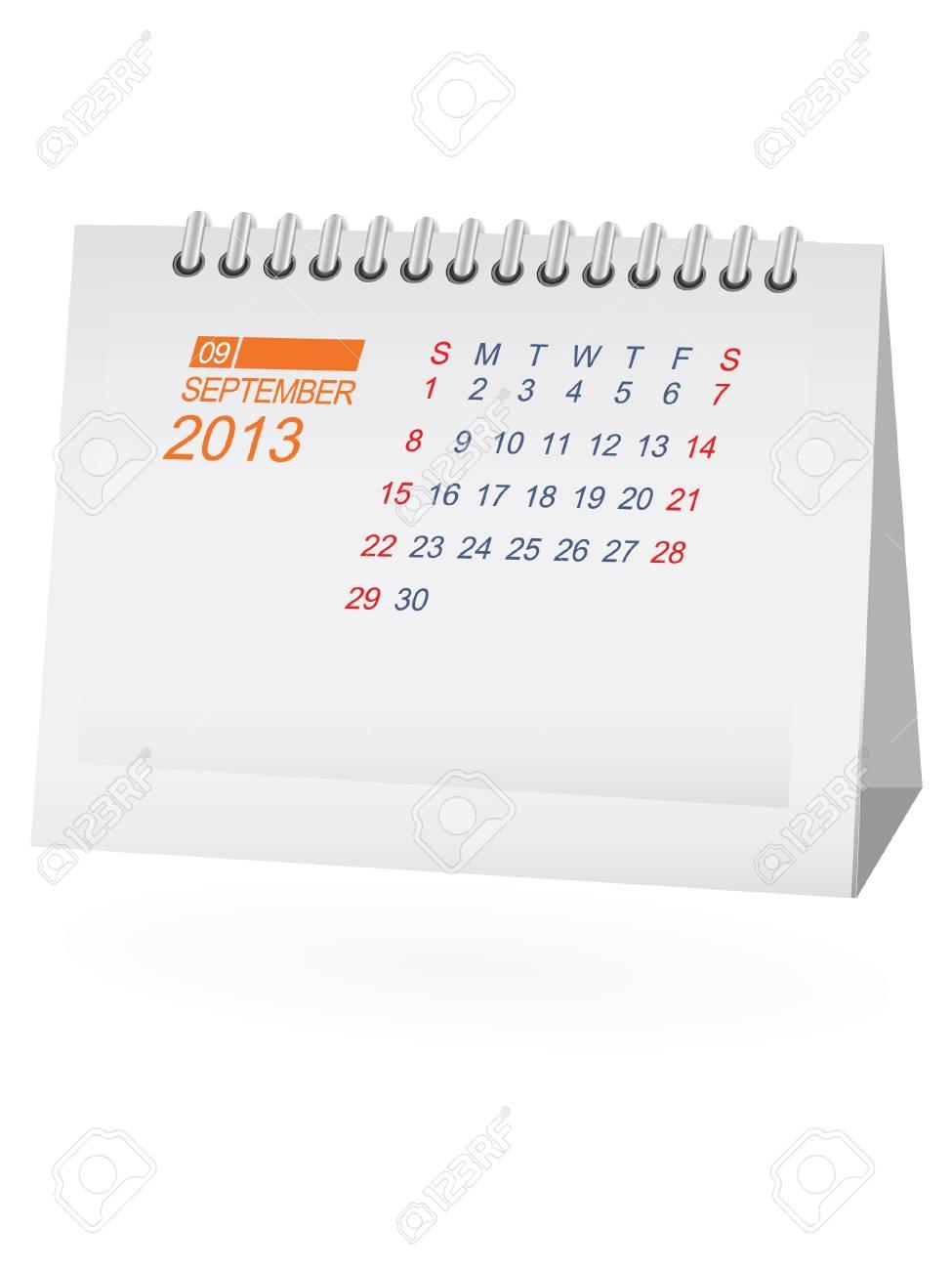 September 2013 Desk Calendar Stock Vector - 15292082