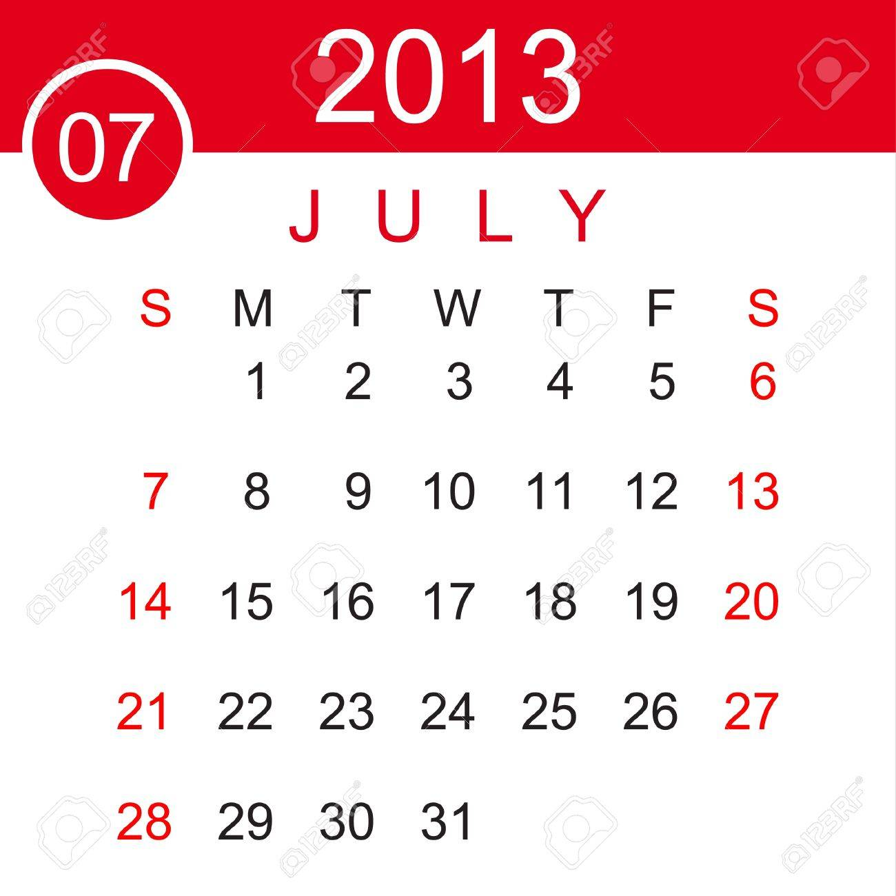 July 2013 Calendar Stock Vector - 15883488