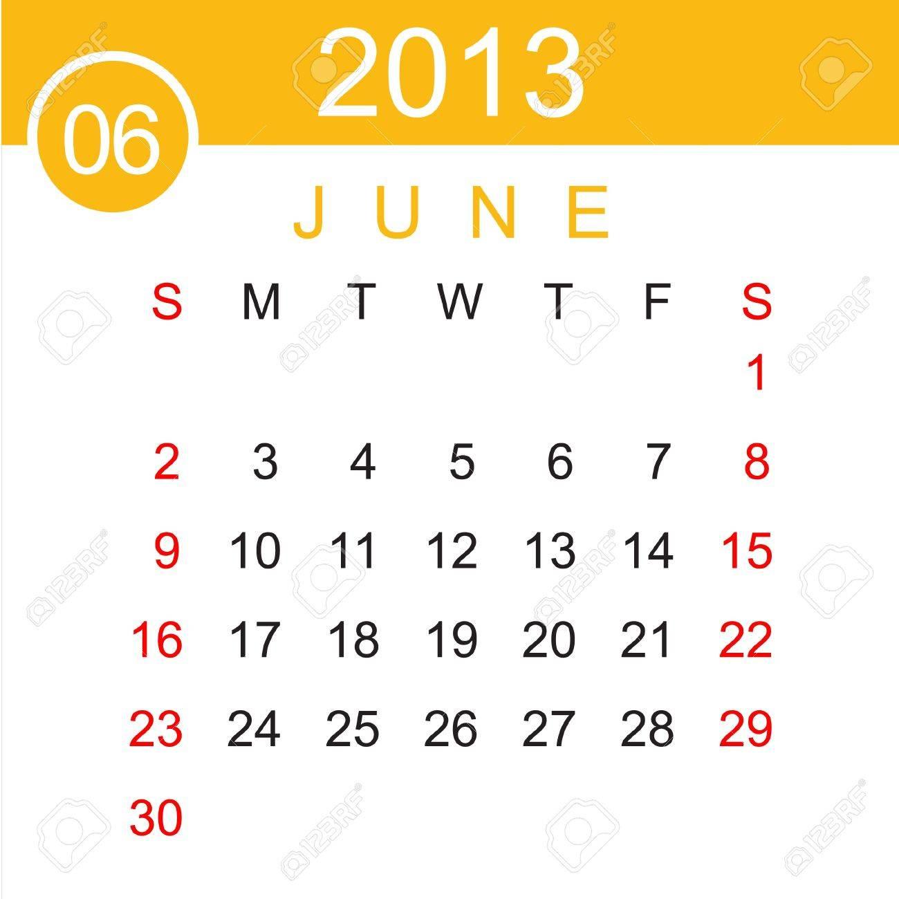 June 2013 Calendar Stock Vector - 15883486