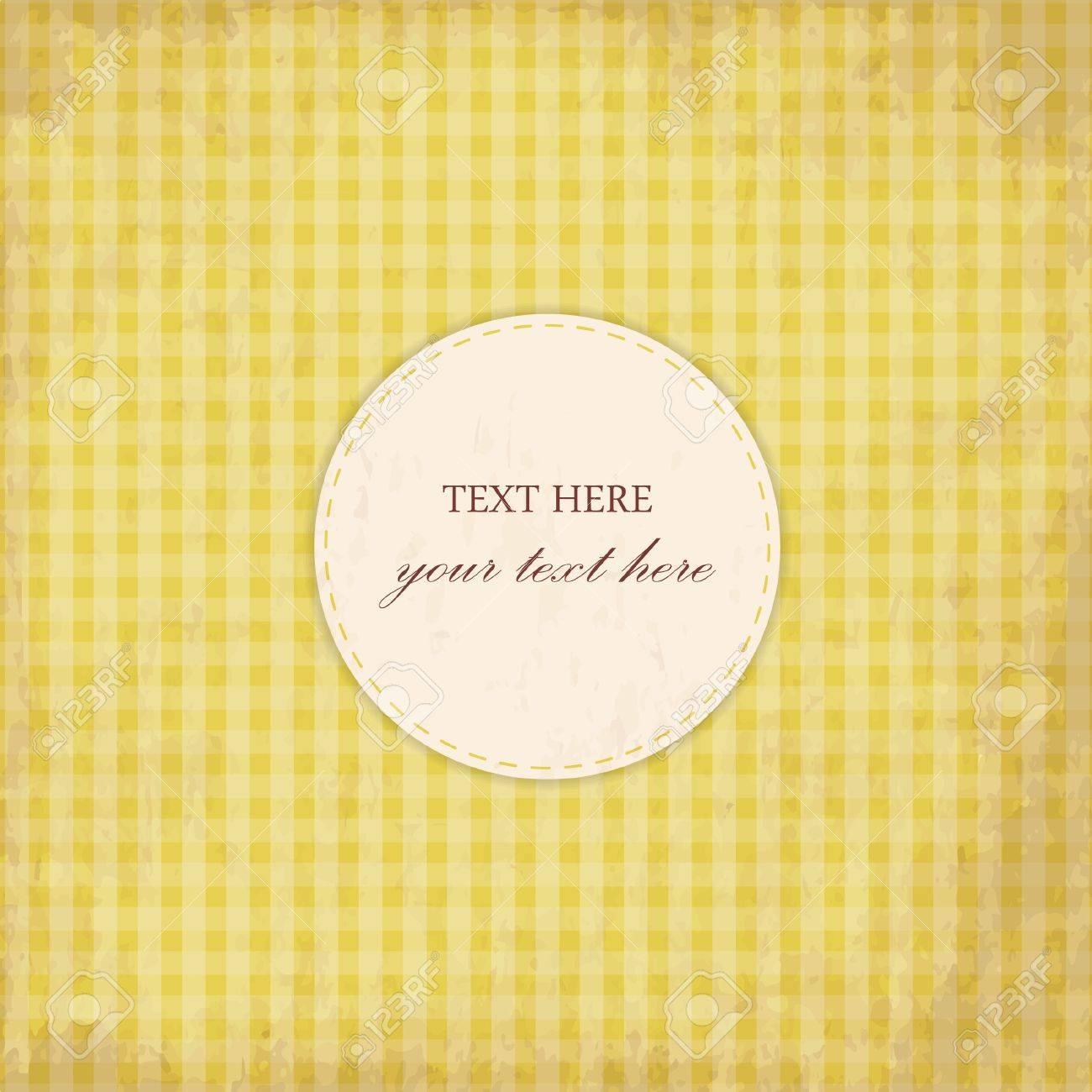 Grunge Yellow Vintage Card, Plaid Design Stock Vector - 16329508