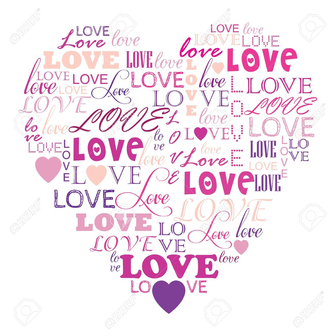 Love In Word Collage Composed In Heart Shape Stock Vector