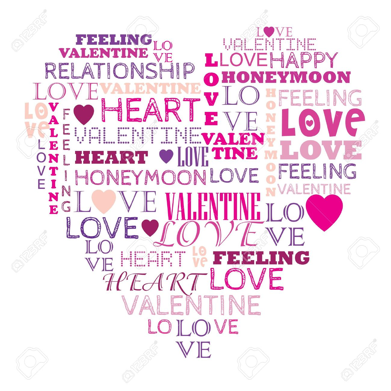 Love in word collage composed in heart shape Stock Vector - 17583318