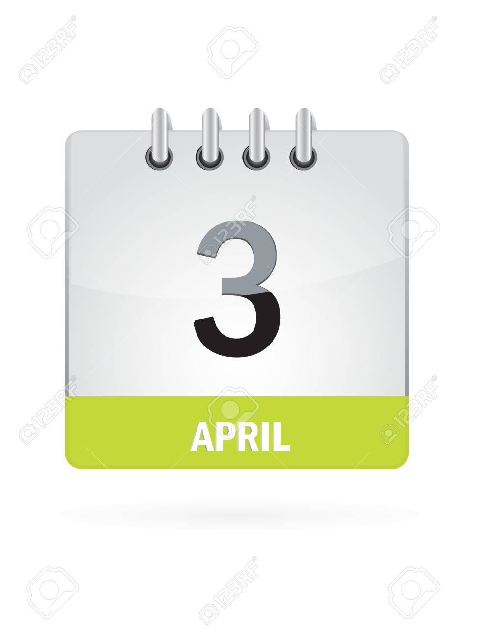 3 April Calendar Icon On White Background Stock Vector - 17882813
