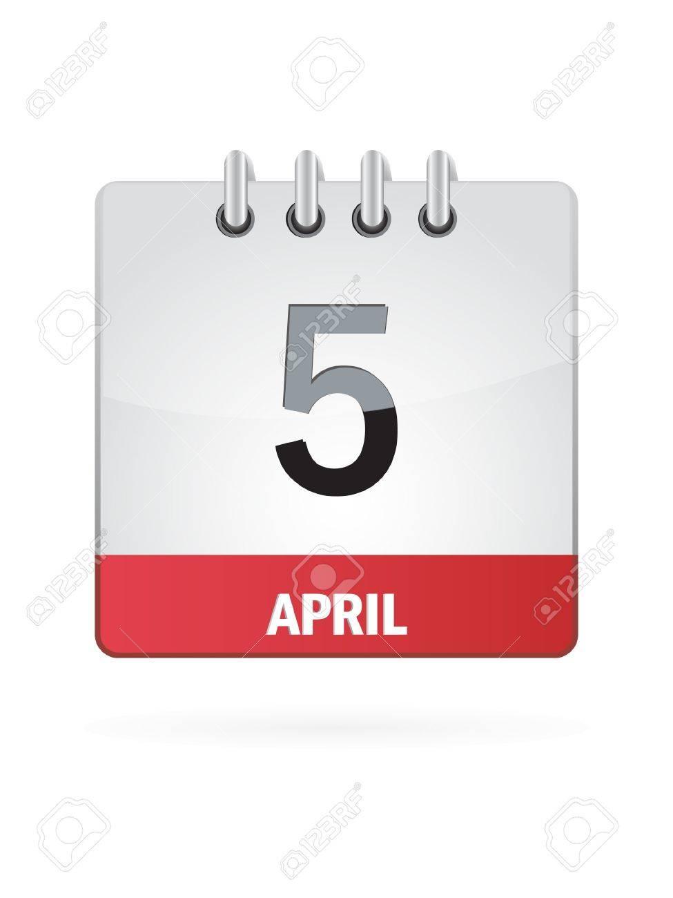 5 April Calendar Icon On White Background Stock Vector - 17882808