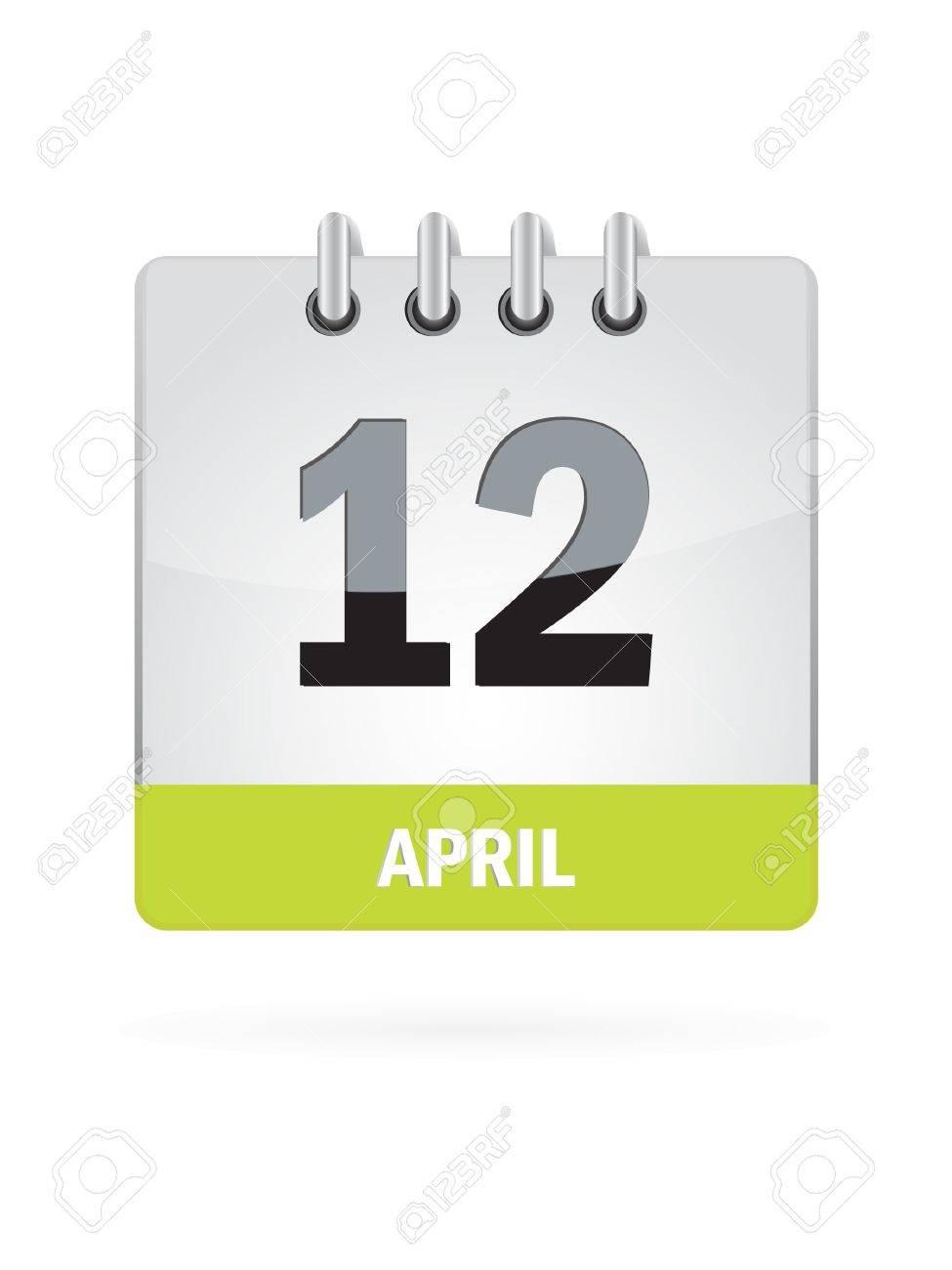12 April Calendar Icon On White Background Stock Vector - 17882815