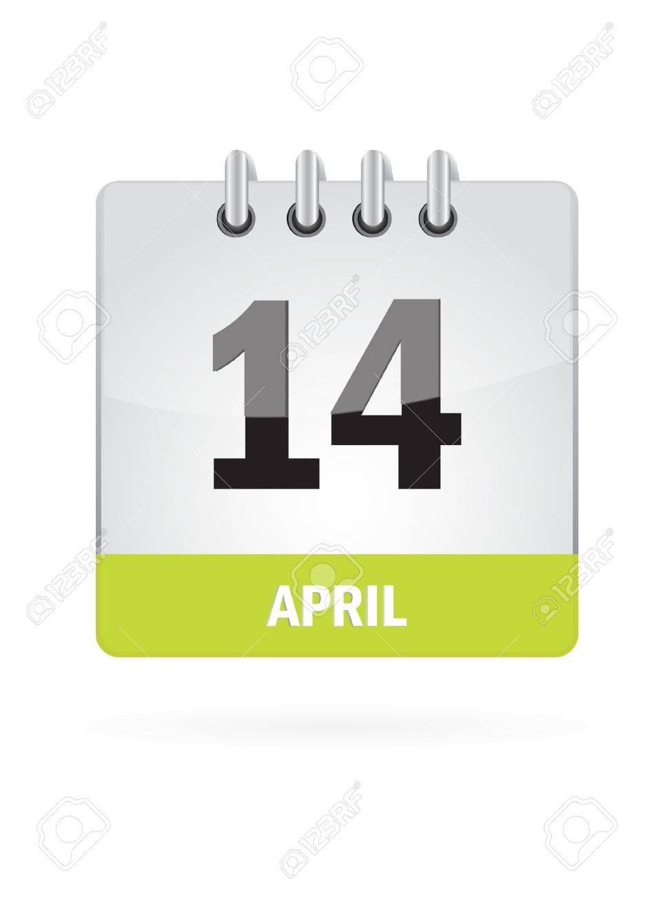 14 April Calendar Icon On White Background Stock Vector - 17882742