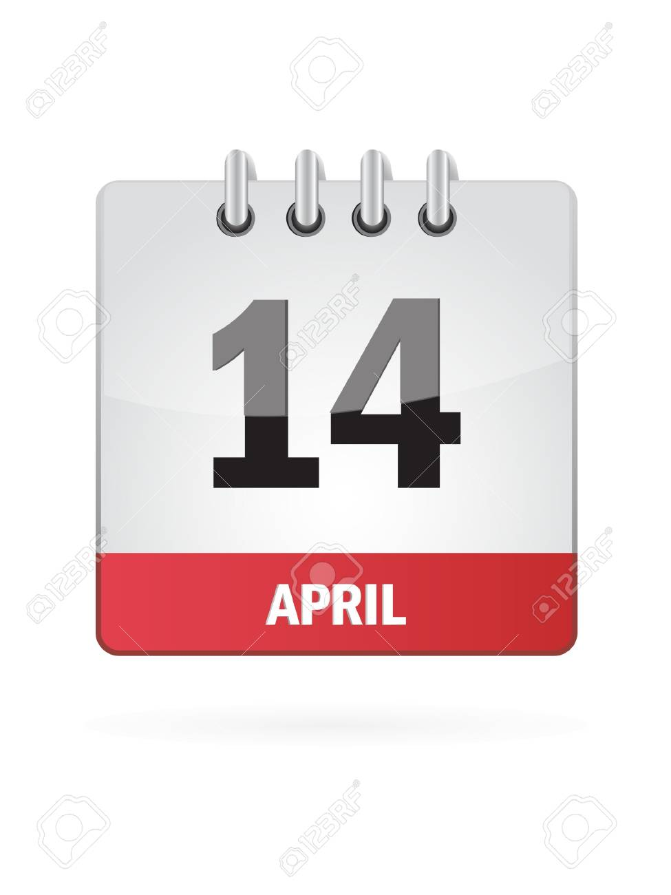 14 April Calendar Icon On White Background Stock Vector - 17882806