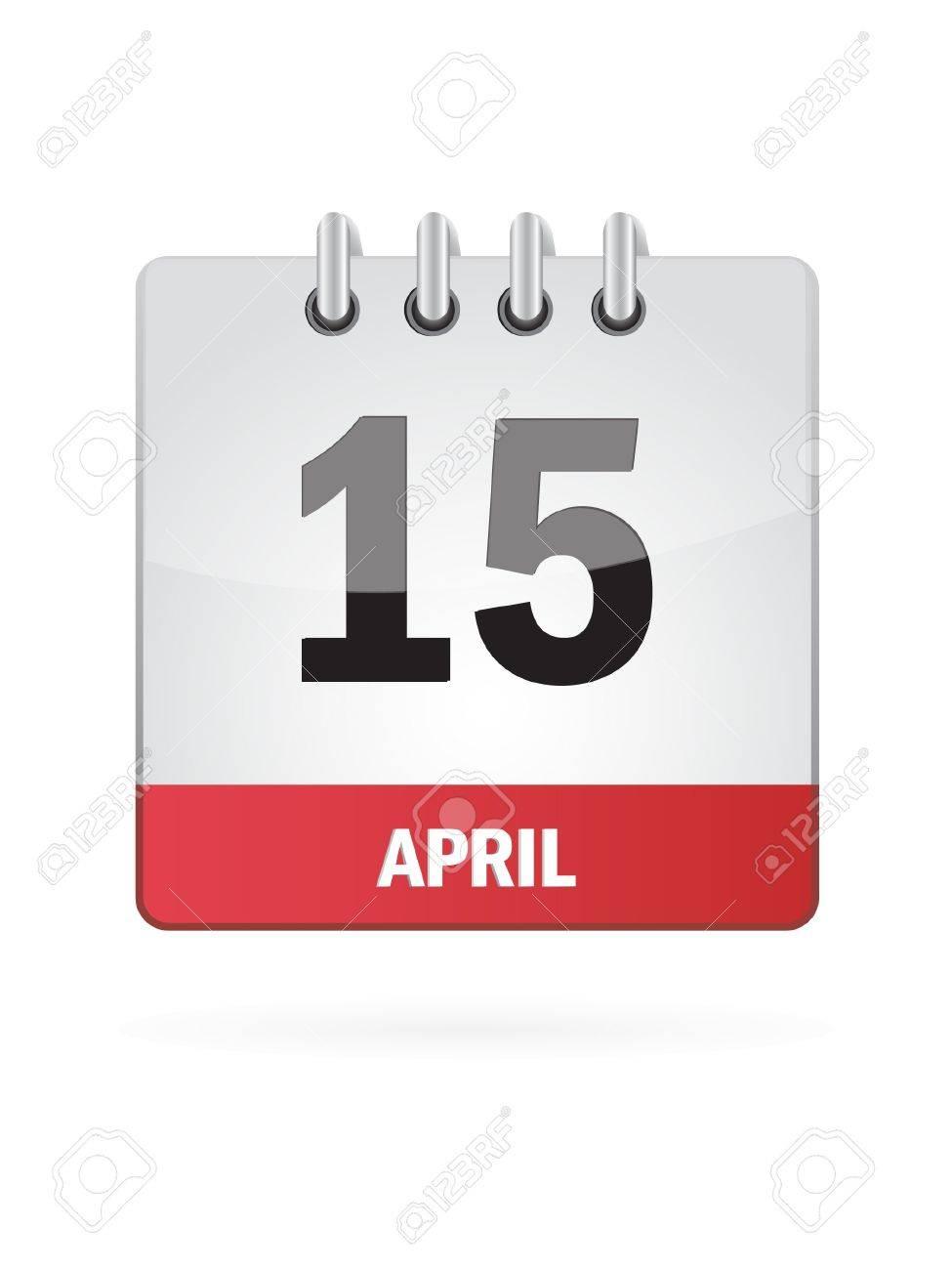 15 April Calendar Icon On White Background Stock Vector - 17882927