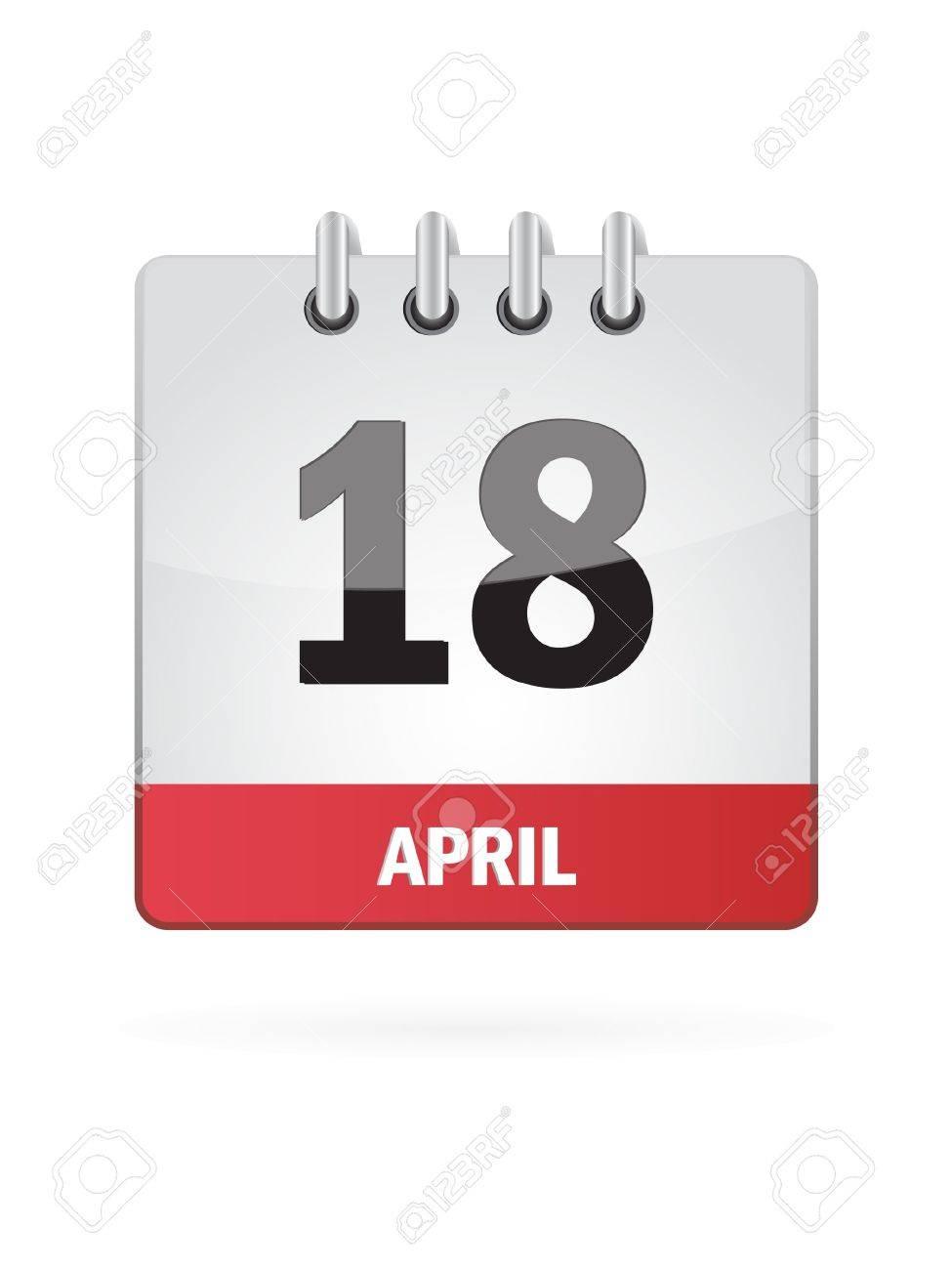 18 April Calendar Icon On White Background Stock Vector - 17880065