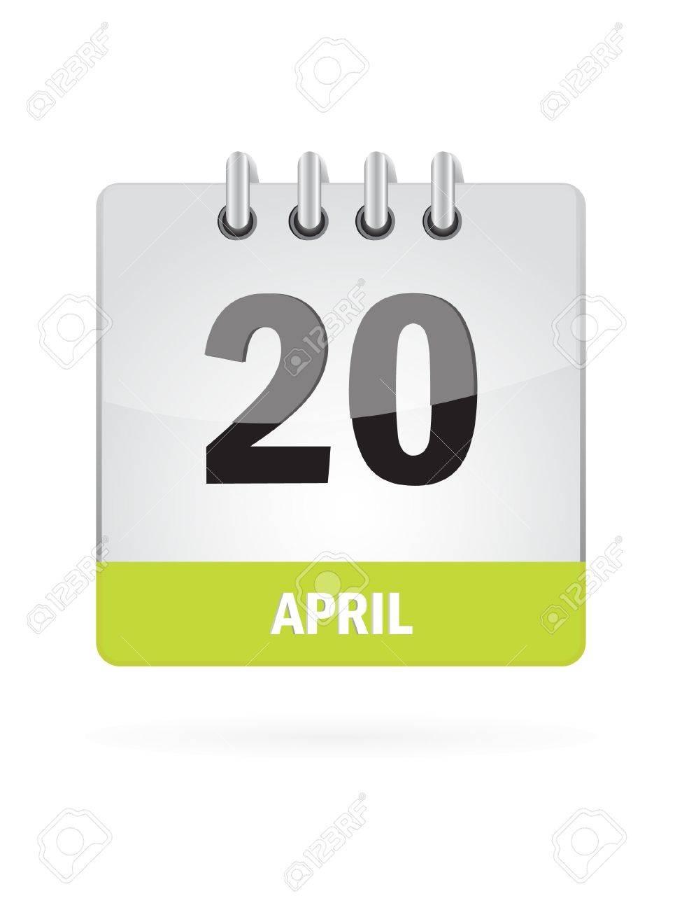 20 April Calendar Icon On White Background Stock Vector - 17883083